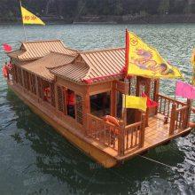 景区餐饮画舫水上餐厅农庄大型电动画舫木船观光休闲客船