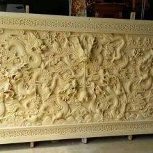 成都人造砂岩九龙献宝背景墙厂家酒店大厅仿砂岩九龙图浮雕壁画定做