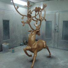 玻璃钢仿铜鹿抽象雕塑树脂抽象鹿铜雕摆件酒店会所装饰铜鹿雕塑