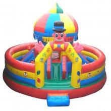承德马戏团新款充气城堡/圆形充气蹦蹦床,心悦小丑冲气滑梯pvc弹跳气垫价格