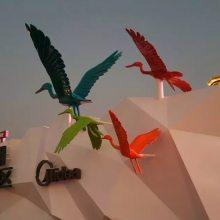 玻璃钢彩绘抽象鹭鸶鸟雕塑图片价格美的鹭湖森林度假区树脂鹭鸟雕塑厂家