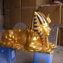 娄底电镀金色人面狮身雕塑树脂狮身人面玻璃钢埃及狮身人面兽雕塑